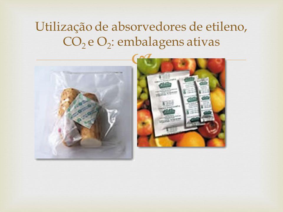  Utilização de absorvedores de etileno, CO 2 e O 2 : embalagens ativas