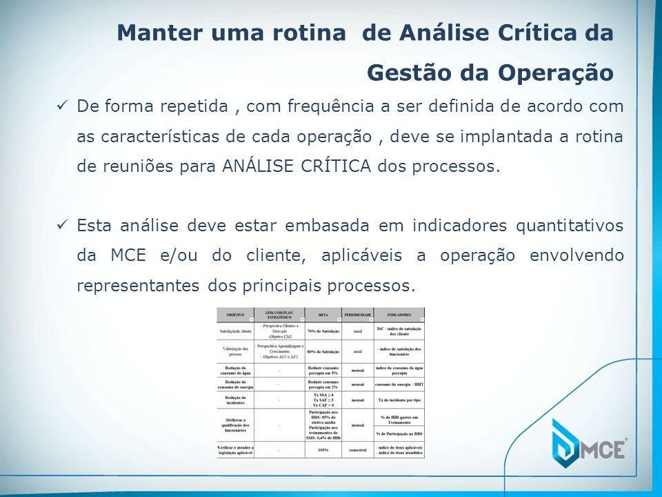 Manter uma rotina de Análise Crítica da Gestão da Operação  De forma repetida, com frequência a ser definida de acordo com as características de cada operação, deve se implantada a rotina de reuniões para ANÁLISE CRÍTICA dos processos.