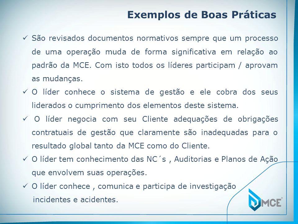 Exemplos de Boas Práticas  São revisados documentos normativos sempre que um processo de uma operação muda de forma significativa em relação ao padrão da MCE.