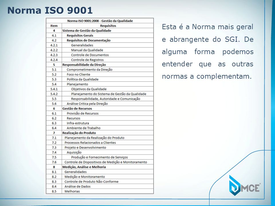 Norma ISO 9001 Esta é a Norma mais geral e abrangente do SGI. De alguma forma podemos entender que as outras normas a complementam.