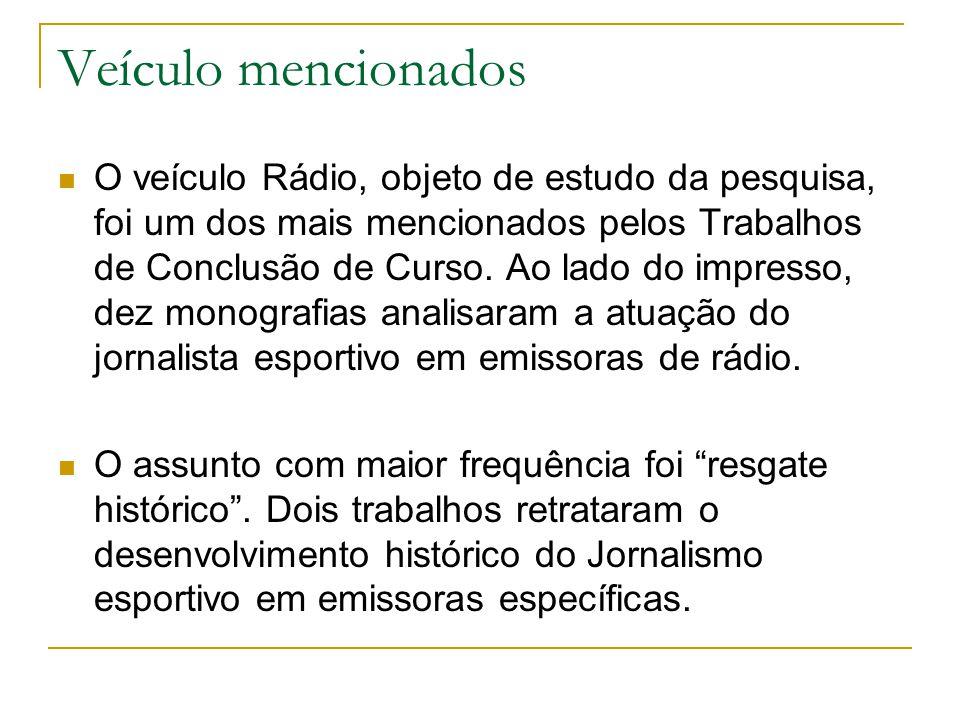 Veículo mencionados  O veículo Rádio, objeto de estudo da pesquisa, foi um dos mais mencionados pelos Trabalhos de Conclusão de Curso.