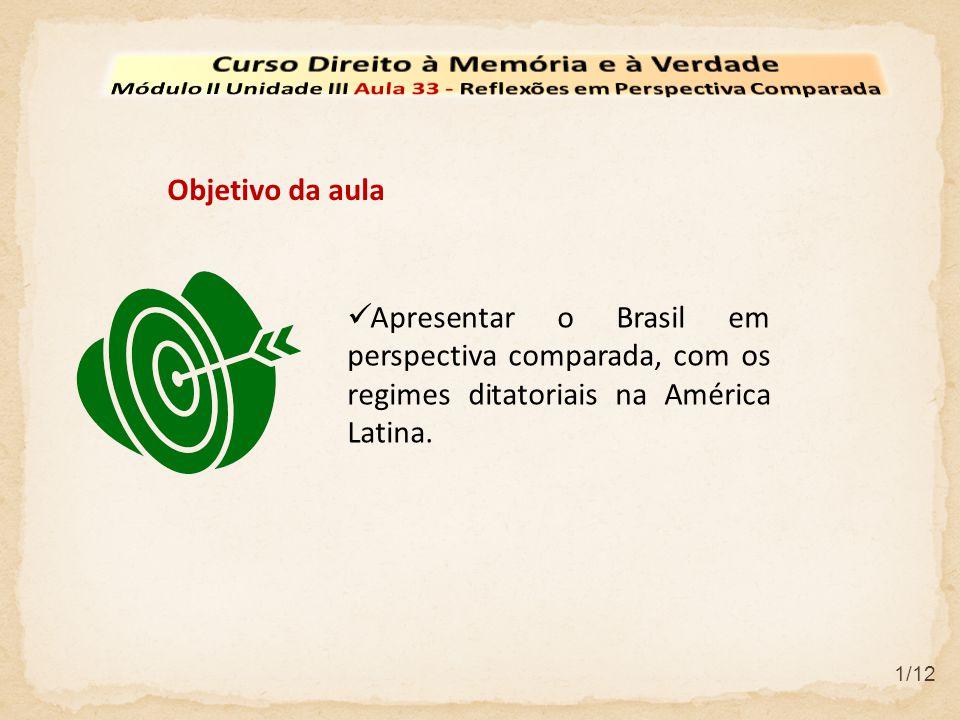  Apresentar o Brasil em perspectiva comparada, com os regimes ditatoriais na América Latina.