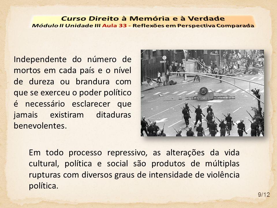 9/12 Independente do número de mortos em cada país e o nível de dureza ou brandura com que se exerceu o poder político é necessário esclarecer que jamais existiram ditaduras benevolentes.