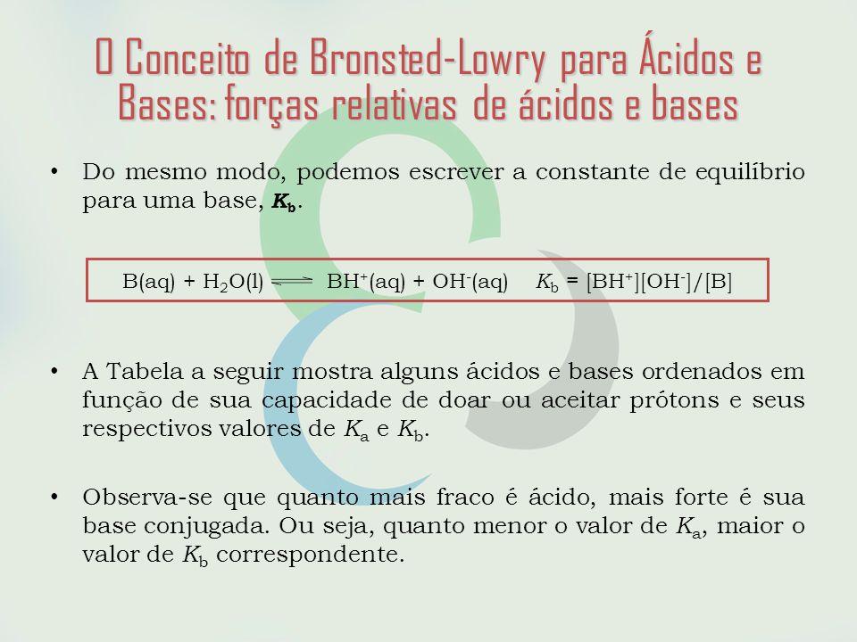O Conceito de Bronsted-Lowry para Ácidos e Bases: forças relativas de ácidos e bases • Do mesmo modo, podemos escrever a constante de equilíbrio para uma base, K b.
