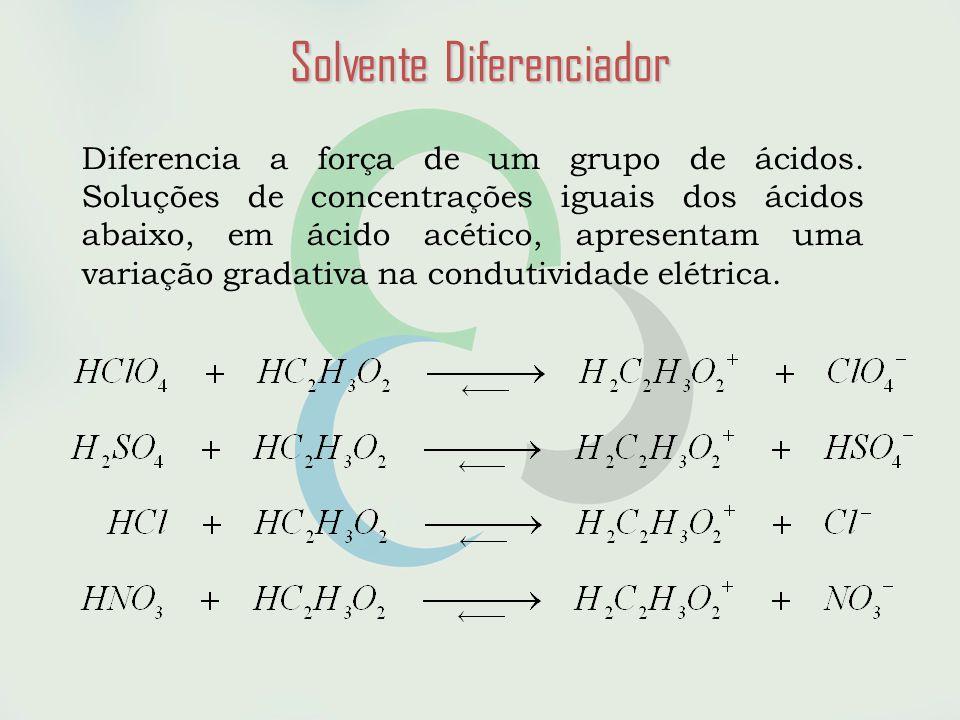 Solvente Diferenciador Diferencia a força de um grupo de ácidos.