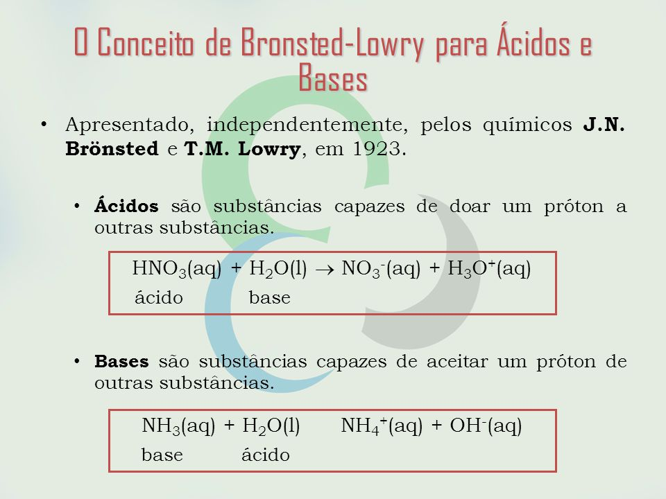A água e a Escala de pH 2H 2 O(aq)H 3 O + (aq) + OH - (aq) auto-ionização da água Kw = [H 3 O + ][OH - ] Kw = 1,0 x 10 -14 (a 25 o C) [H 3 O + ] = [OH - ]= 1,0 x 10 -7 (solução neutra) [H 3 O + ]>[OH - ] (solução ácida) [H 3 O + ]<[OH - ] (solução básica) pH = -log [H 3 O + ] pOH = -log [OH - ] Em água pura, a 25 o C pH = pOH - = 7,0