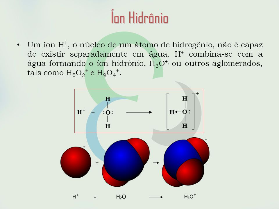 • Um íon H +, o núcleo de um átomo de hidrogênio, não é capaz de existir separadamente em água.