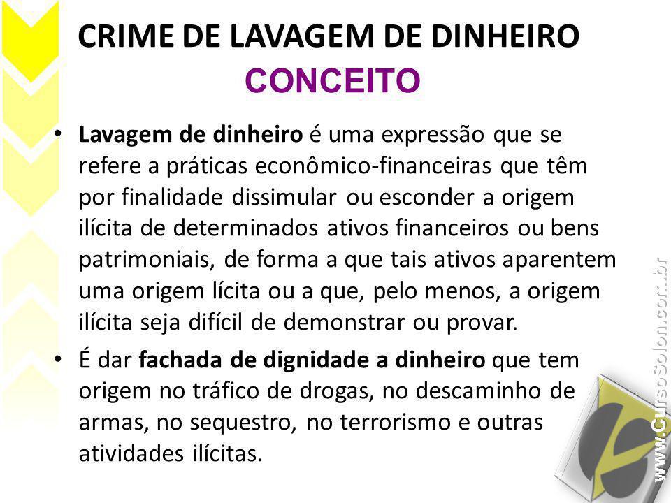 CRIME DE LAVAGEM DE DINHEIRO • Lavagem de dinheiro é uma expressão que se refere a práticas econômico-financeiras que têm por finalidade dissimular ou