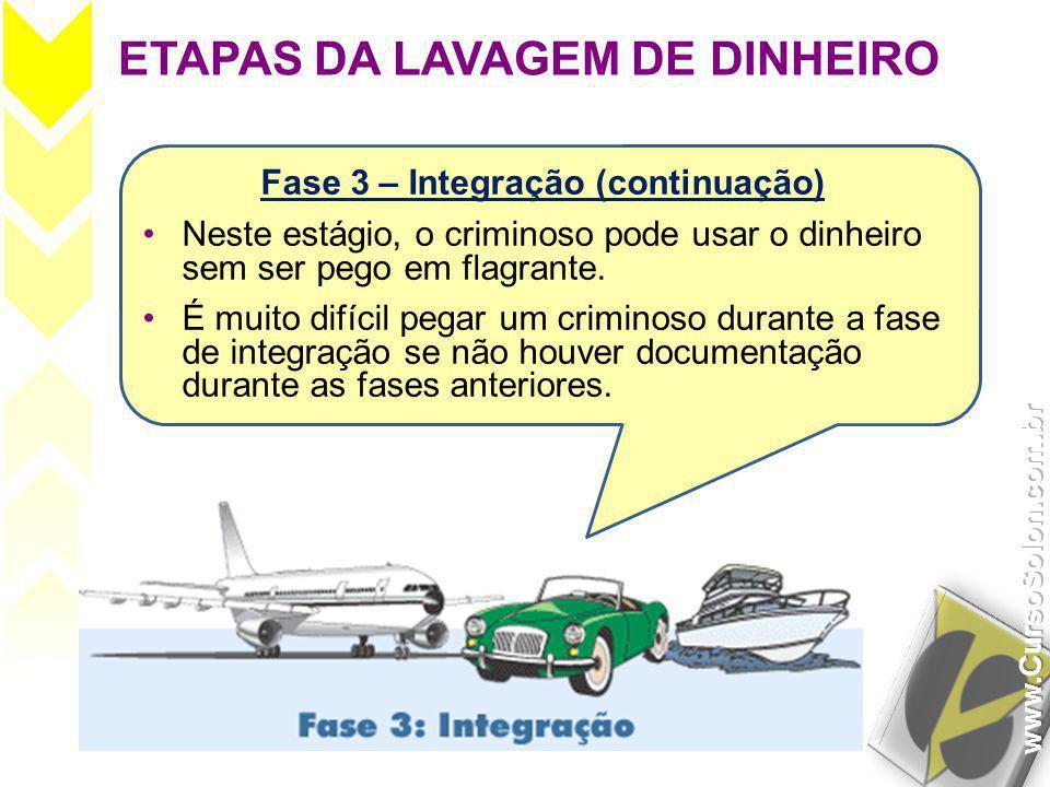 ETAPAS DA LAVAGEM DE DINHEIRO Fase 3 – Integração (continuação) •Neste estágio, o criminoso pode usar o dinheiro sem ser pego em flagrante. •É muito d
