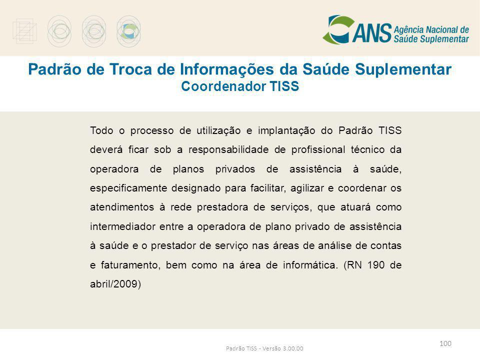 Padrão de Troca de Informações da Saúde Suplementar Coordenador TISS Padrão TISS - Versão 3.00.00 Todo o processo de utilização e implantação do Padrã