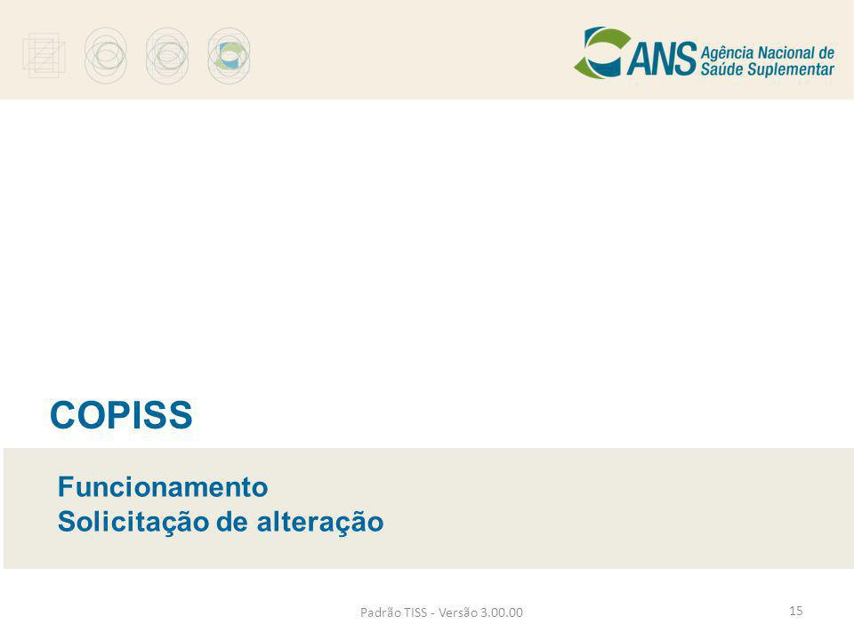 Padrão TISS - Versão 3.00.00 COPISS Funcionamento Solicitação de alteração 15