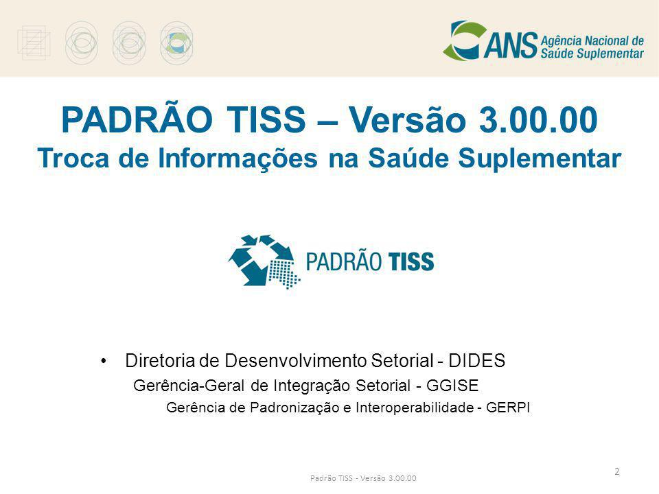 PADRÃO TISS – Versão 3.00.00 Troca de Informações na Saúde Suplementar •Diretoria de Desenvolvimento Setorial - DIDES Gerência-Geral de Integração Set