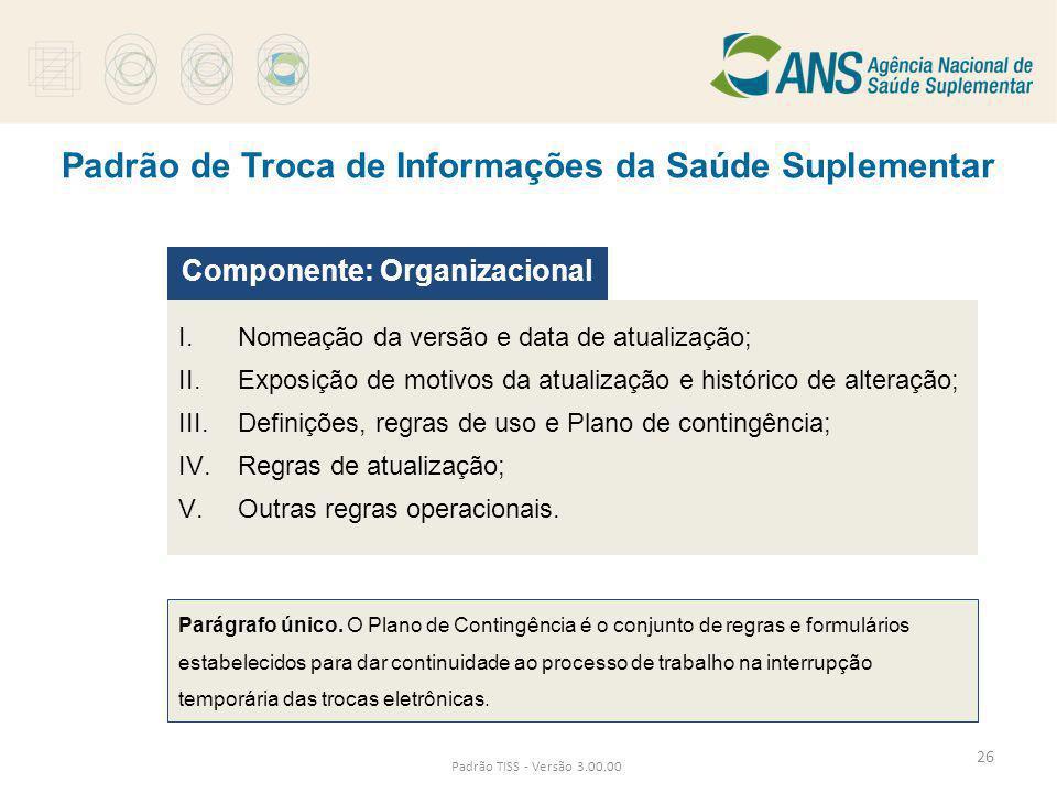 Padrão de Troca de Informações da Saúde Suplementar Padrão TISS - Versão 3.00.00 I. Nomeação da versão e data de atualização; II. Exposição de motivos