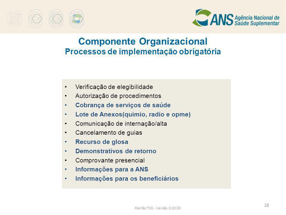 Padrão TISS - Versão 3.00.00 Componente Organizacional Processos de implementação obrigatória •Verificação de elegibilidade •Autorização de procedimen