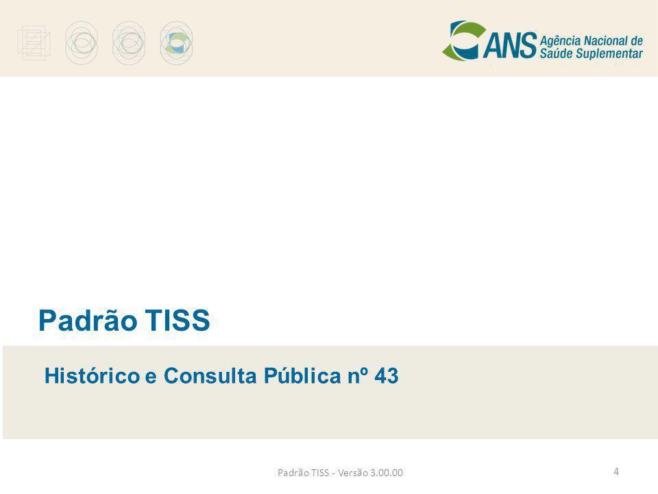 Padrão TISS - Versão 3.00.00 Padrão TISS Histórico e Consulta Pública nº 43 4