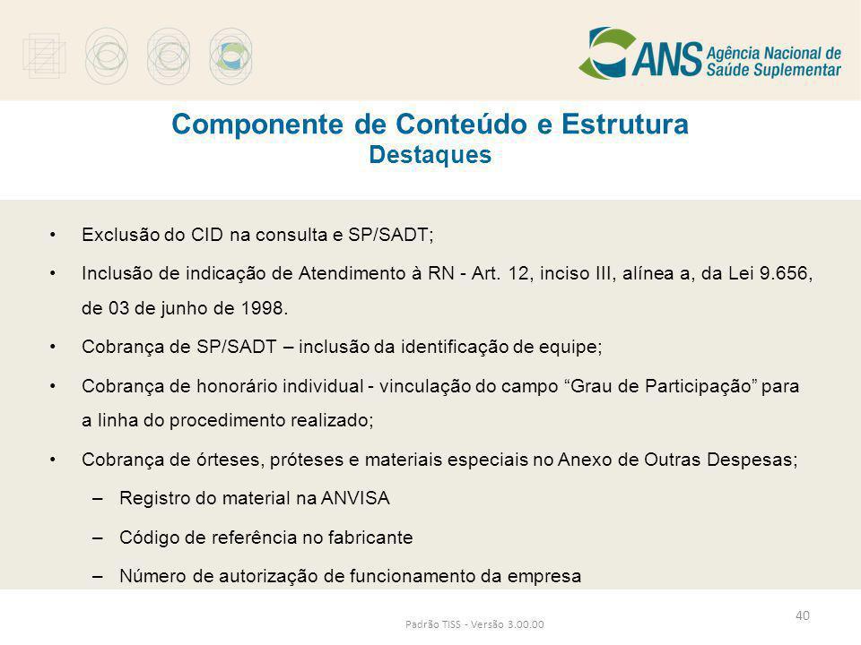 Componente de Conteúdo e Estrutura Destaques Padrão TISS - Versão 3.00.00 •Exclusão do CID na consulta e SP/SADT; •Inclusão de indicação de Atendiment