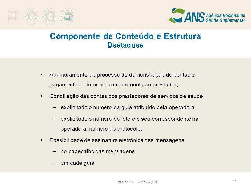 Componente de Conteúdo e Estrutura Destaques Padrão TISS - Versão 3.00.00 •Aprimoramento do processo de demonstração de contas e pagamentos – fornecid