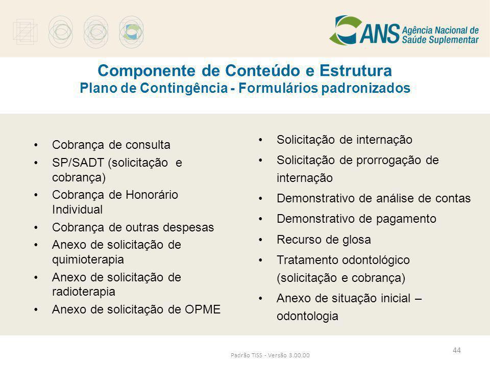 Componente de Conteúdo e Estrutura Plano de Contingência - Formulários padronizados Padrão TISS - Versão 3.00.00 •Cobrança de consulta •SP/SADT (solic
