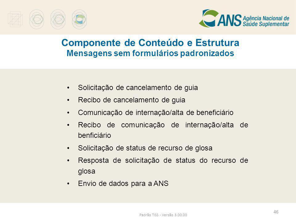 Componente de Conteúdo e Estrutura Mensagens sem formulários padronizados Padrão TISS - Versão 3.00.00 •Solicitação de cancelamento de guia •Recibo de