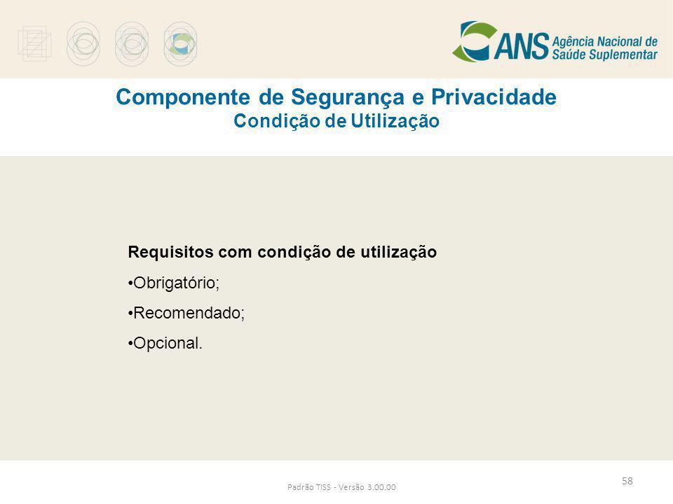 Componente de Segurança e Privacidade Condição de Utilização Padrão TISS - Versão 3.00.00 Requisitos com condição de utilização •Obrigatório; •Recomen
