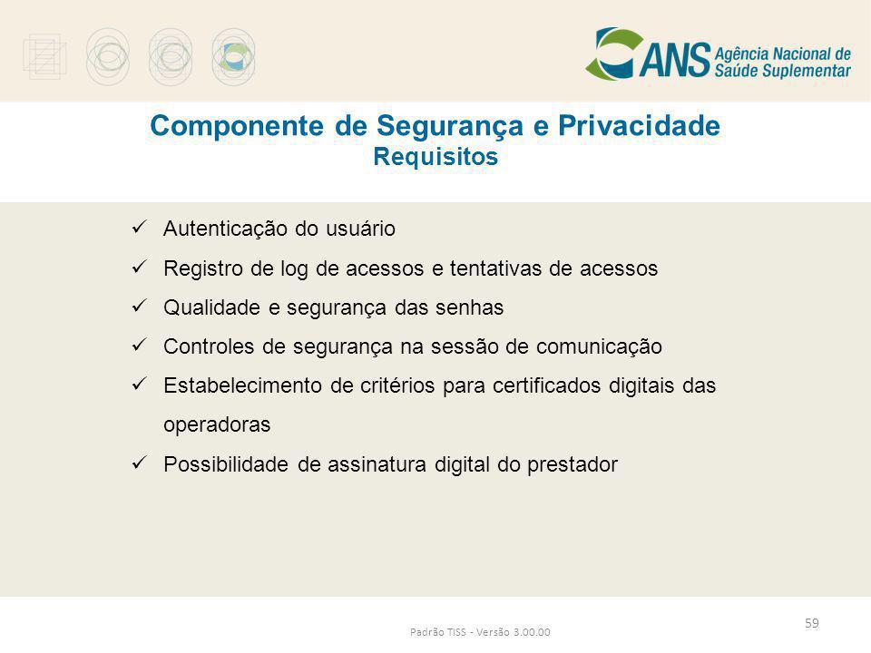 Componente de Segurança e Privacidade Requisitos Padrão TISS - Versão 3.00.00  Autenticação do usuário  Registro de log de acessos e tentativas de a