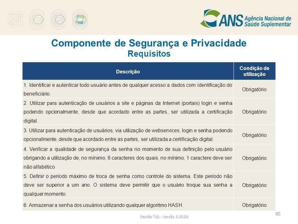 Componente de Segurança e Privacidade Requisitos Padrão TISS - Versão 3.00.00 Descrição Condição de utilização 1. Identificar e autenticar todo usuári