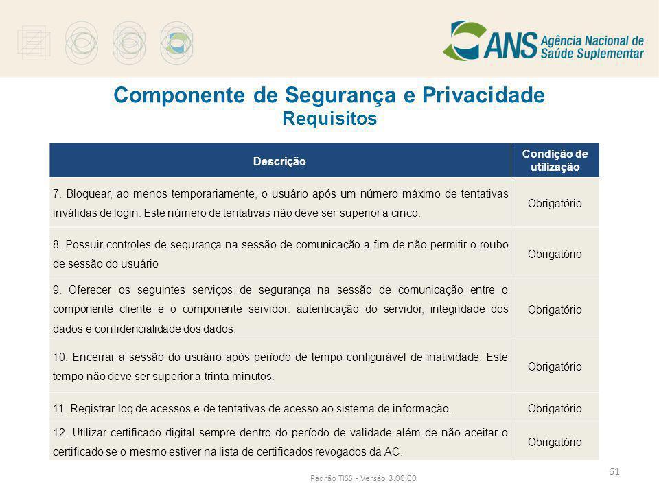Componente de Segurança e Privacidade Requisitos Padrão TISS - Versão 3.00.00 Descrição Condição de utilização 7. Bloquear, ao menos temporariamente,