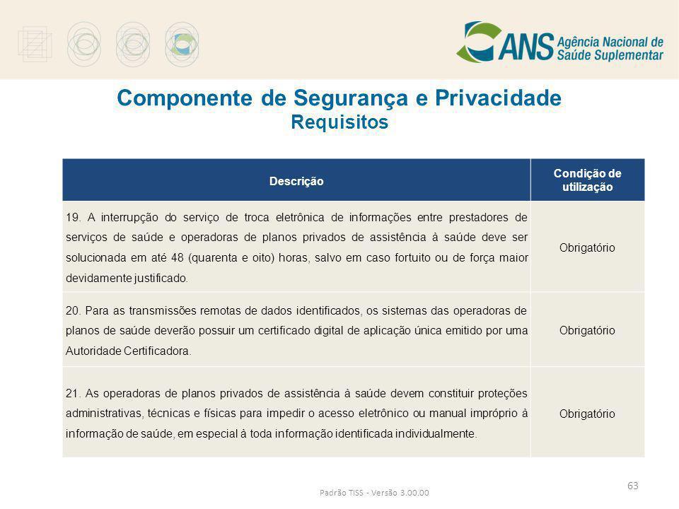 Componente de Segurança e Privacidade Requisitos Padrão TISS - Versão 3.00.00 Descrição Condição de utilização 19. A interrupção do serviço de troca e