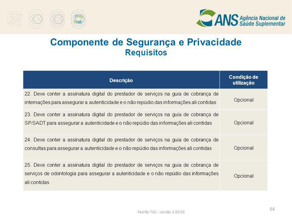 Componente de Segurança e Privacidade Requisitos Padrão TISS - Versão 3.00.00 Descrição Condição de utilização 22. Deve conter a assinatura digital do