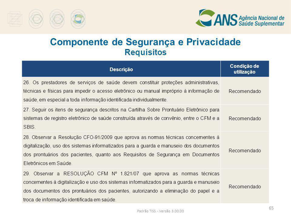 Componente de Segurança e Privacidade Requisitos Padrão TISS - Versão 3.00.00 Descrição Condição de utilização 26. Os prestadores de serviços de saúde