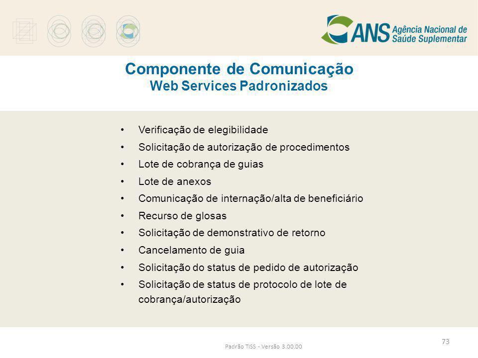Componente de Comunicação Web Services Padronizados Padrão TISS - Versão 3.00.00 •Verificação de elegibilidade •Solicitação de autorização de procedim