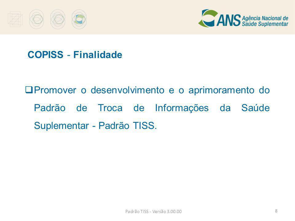 COPISS - Finalidade  Promover o desenvolvimento e o aprimoramento do Padrão de Troca de Informações da Saúde Suplementar - Padrão TISS. Padrão TISS -
