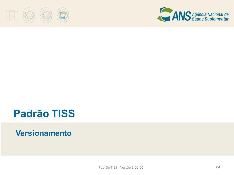 Padrão TISS - Versão 3.00.00 Padrão TISS Versionamento 84