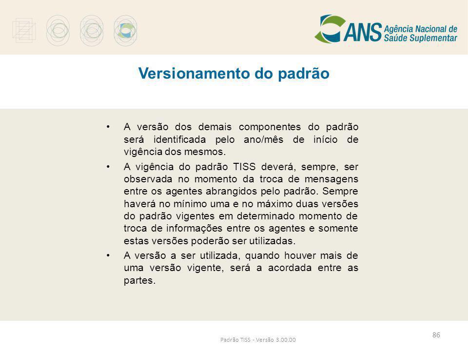 Versionamento do padrão Padrão TISS - Versão 3.00.00 •A versão dos demais componentes do padrão será identificada pelo ano/mês de início de vigência d