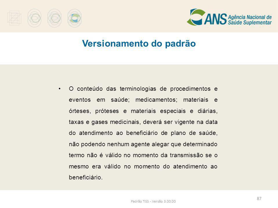 Versionamento do padrão Padrão TISS - Versão 3.00.00 •O conteúdo das terminologias de procedimentos e eventos em saúde; medicamentos; materiais e órte