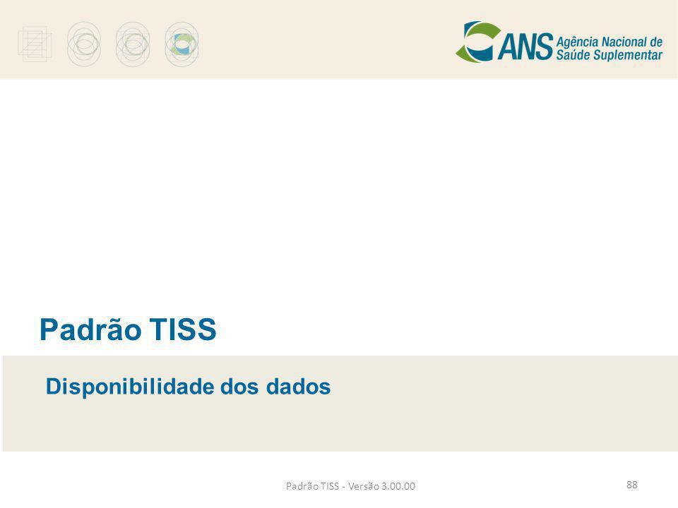Padrão TISS - Versão 3.00.00 Padrão TISS Disponibilidade dos dados 88