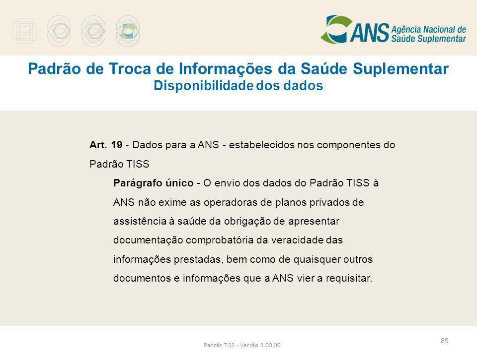 Padrão de Troca de Informações da Saúde Suplementar Disponibilidade dos dados Padrão TISS - Versão 3.00.00 Art. 19 - Dados para a ANS - estabelecidos