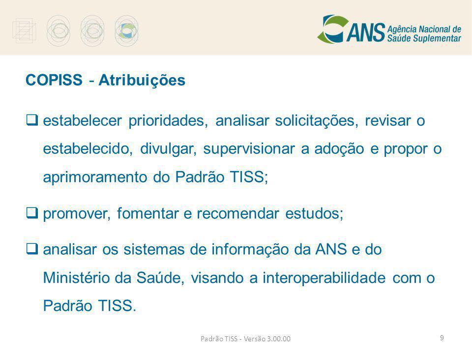 COPISS - Atribuições  estabelecer prioridades, analisar solicitações, revisar o estabelecido, divulgar, supervisionar a adoção e propor o aprimoramen