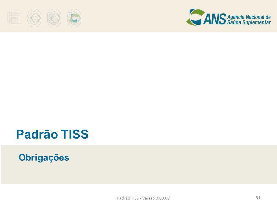 Padrão TISS - Versão 3.00.00 Padrão TISS Obrigações 91