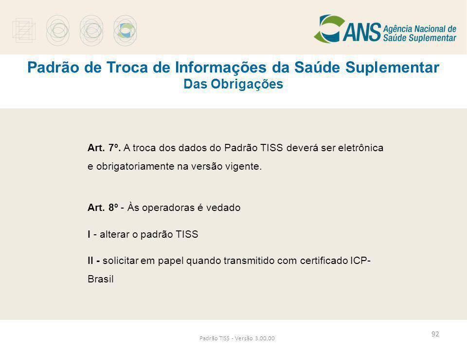 Padrão de Troca de Informações da Saúde Suplementar Das Obrigações Padrão TISS - Versão 3.00.00 Art. 7º. A troca dos dados do Padrão TISS deverá ser e