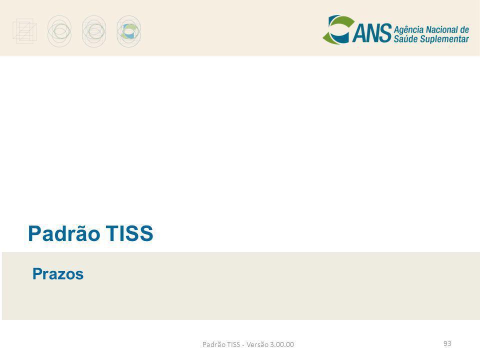 Padrão TISS - Versão 3.00.00 Padrão TISS Prazos 93
