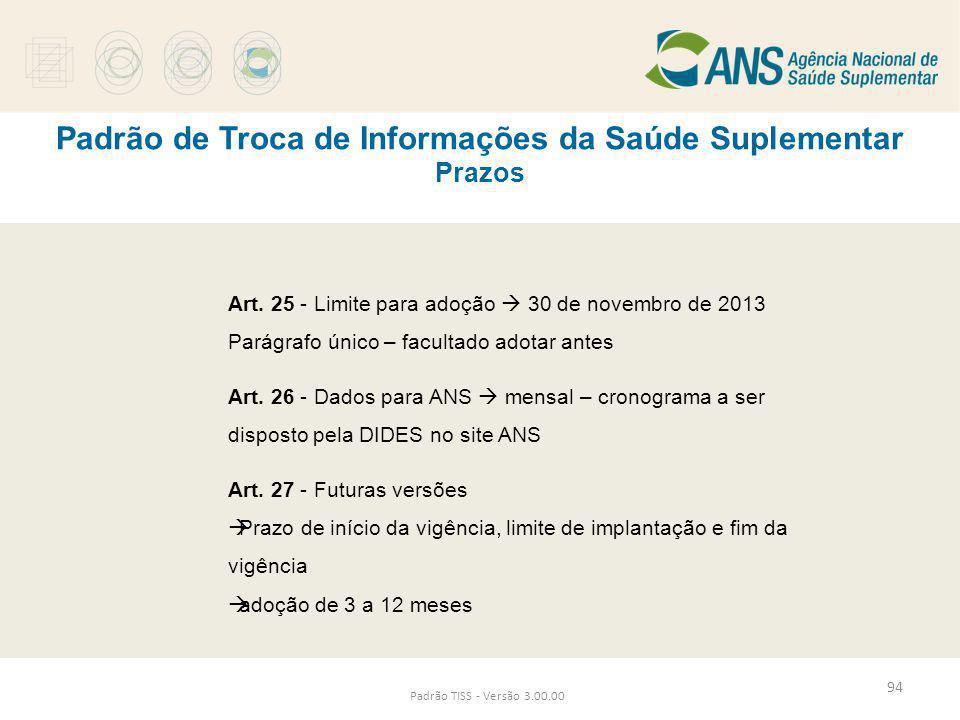 Padrão de Troca de Informações da Saúde Suplementar Prazos Padrão TISS - Versão 3.00.00 Art. 25 - Limite para adoção  30 de novembro de 2013 Parágraf