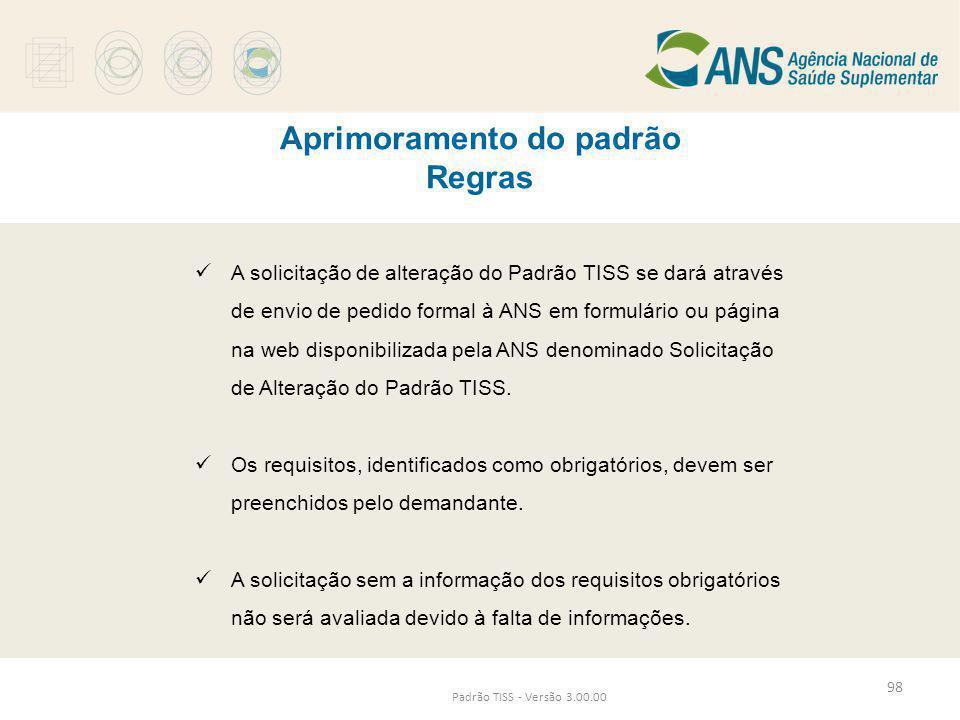 Aprimoramento do padrão Regras Padrão TISS - Versão 3.00.00  A solicitação de alteração do Padrão TISS se dará através de envio de pedido formal à AN