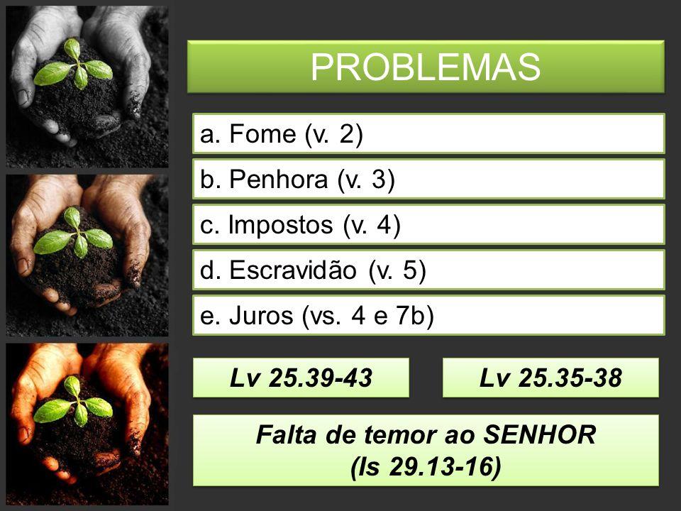 PROBLEMAS a.Fome (v. 2) b. Penhora (v. 3) e. Juros (vs.