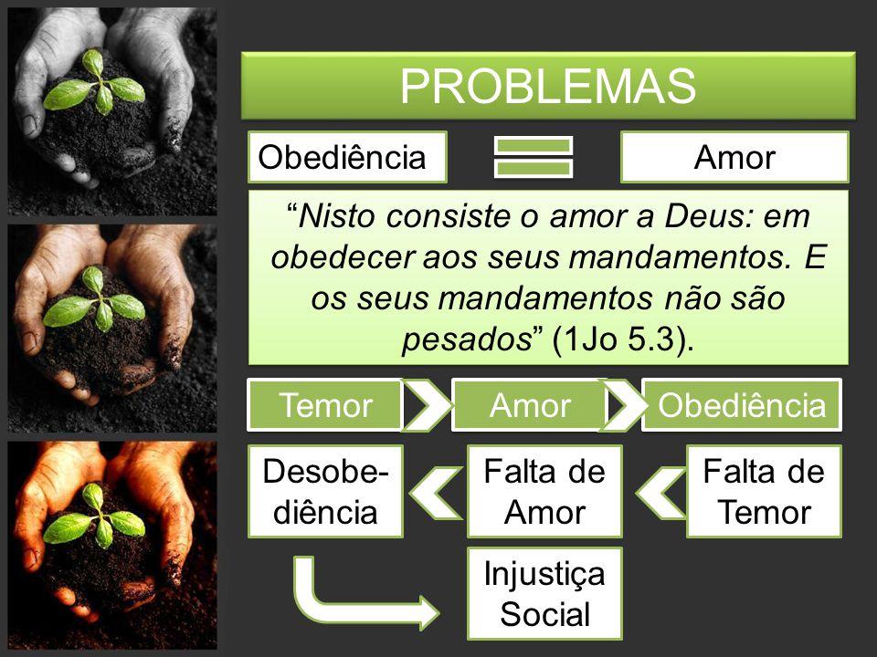 PROBLEMAS Amor a Deus Amor às pessoas Se alguém afirmar: 'Eu amo a Deus', mas odiar seu irmão, é mentiroso, pois quem não ama seu irmão, a quem vê, não pode amar a Deus, a quem não vê (1Jo 4.20).