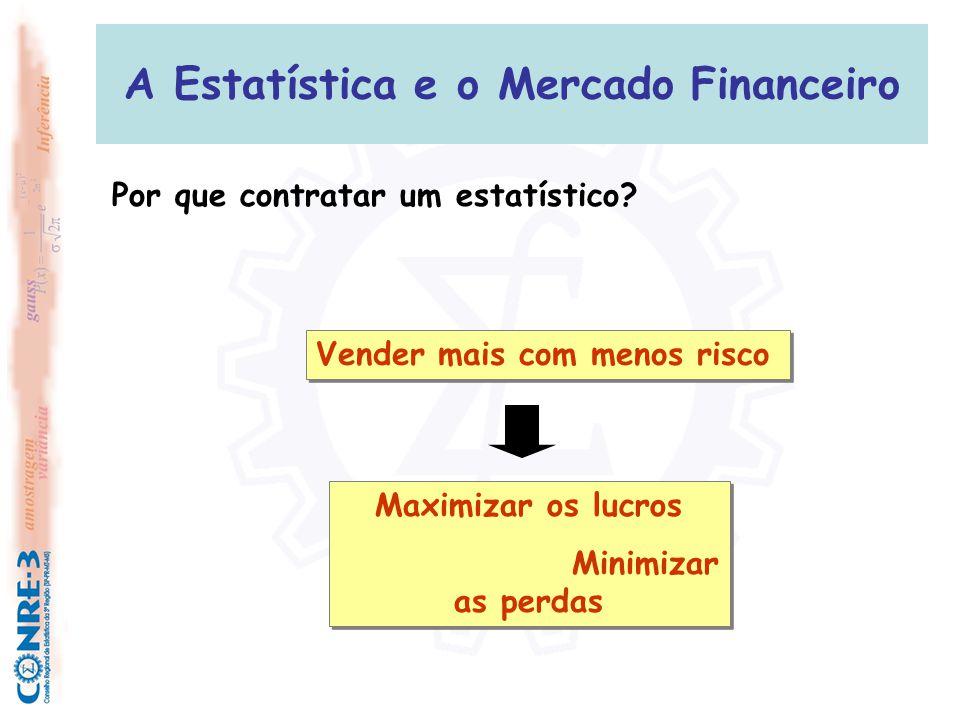 A Estatística e o Mercado Financeiro Área de CRÉDITO:  Desenvolvimento de modelos de concessão de crédito (Credito Scoring e Behavior Scoring);  Análise de Risco (Crédito, Mercado, Operacional);  Aumento de limite de crédito;  Precificação de taxa de juros; Técnicas Utilizadas: Modelos de Regressão (Logística), Árvore de Decisão, Análise de Cluster, Processos Estocásticos, Redes Neurais, etc...