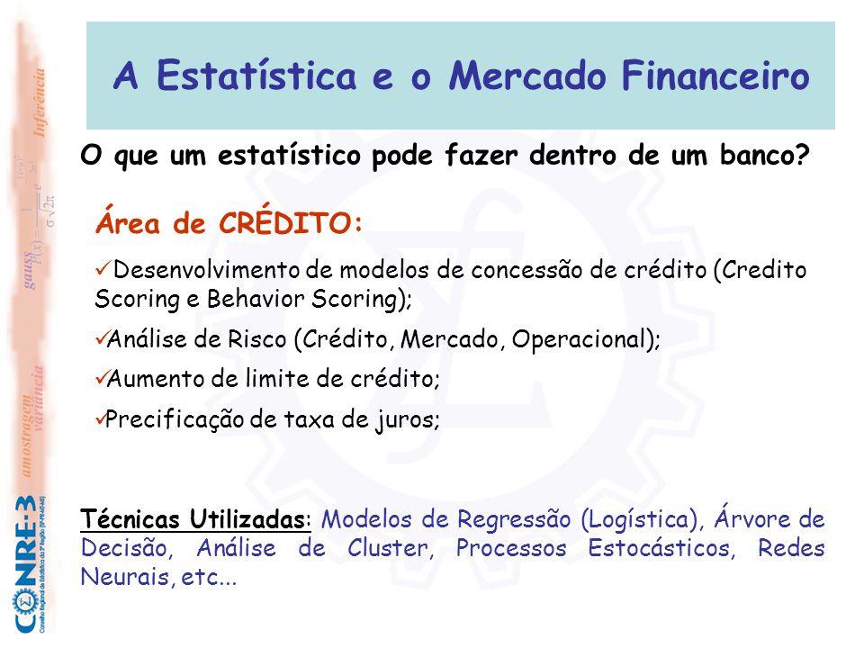 A Estatística e o Mercado Financeiro Área de CRÉDITO:  Desenvolvimento de modelos de concessão de crédito (Credito Scoring e Behavior Scoring);  Aná
