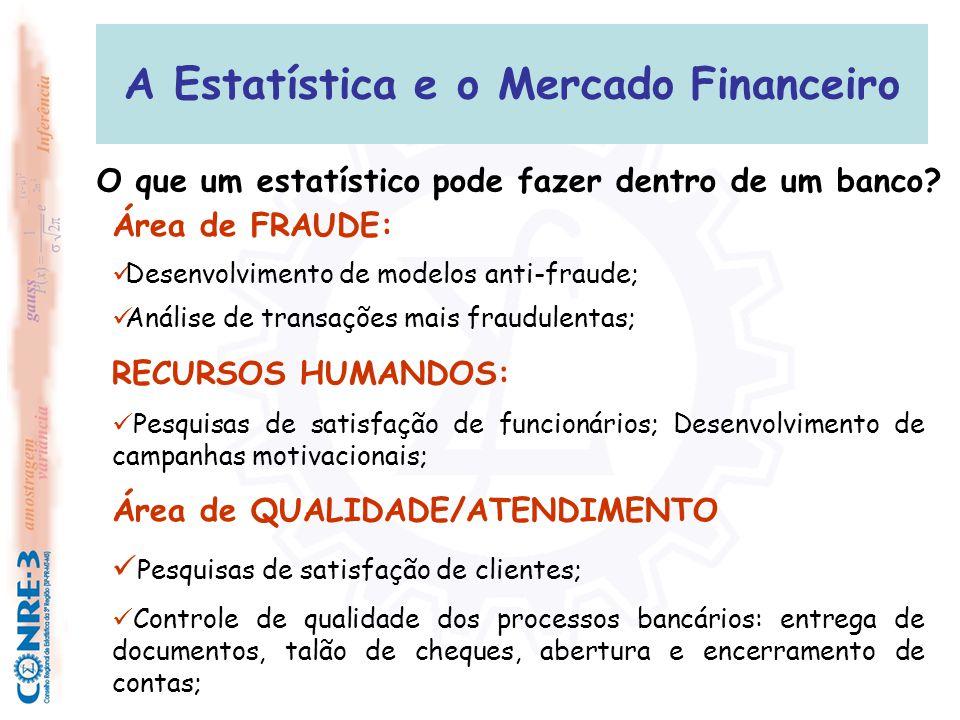 A Estatística e o Mercado Financeiro Área de FRAUDE:  Desenvolvimento de modelos anti-fraude;  Análise de transações mais fraudulentas; RECURSOS HUM