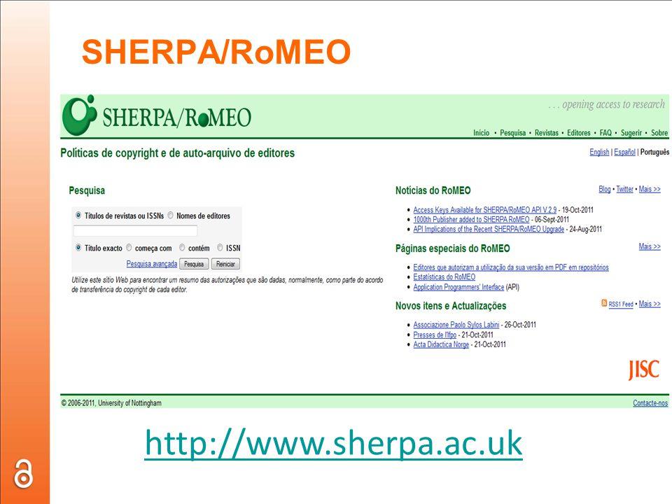 SHERPA/RoMEO http://www.sherpa.ac.uk