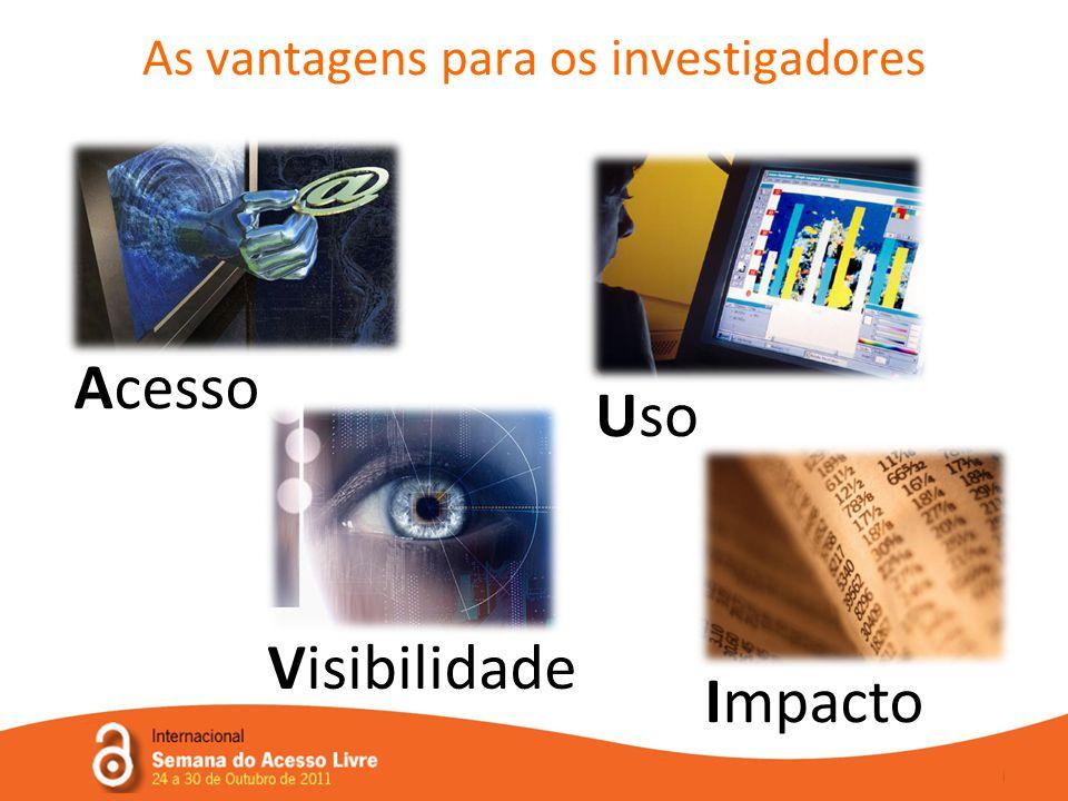 As vantagens para os investigadores Acesso Visibilidade Uso Impacto